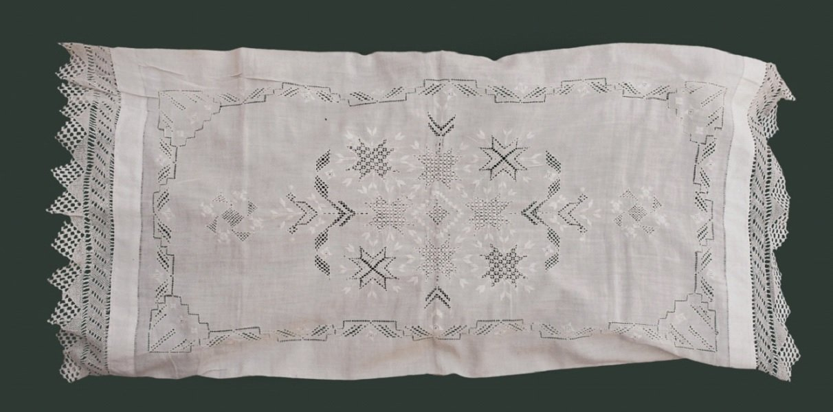 Image 3: Pillowcase full of eight-edged starts common in Armenian Needlework