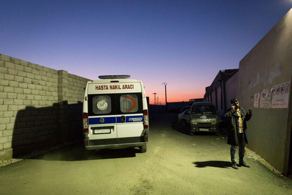 A Turkish ambulance transfers an Aleppo barrel bombing victim to a state hospital in Turkey. Al Jazeera.