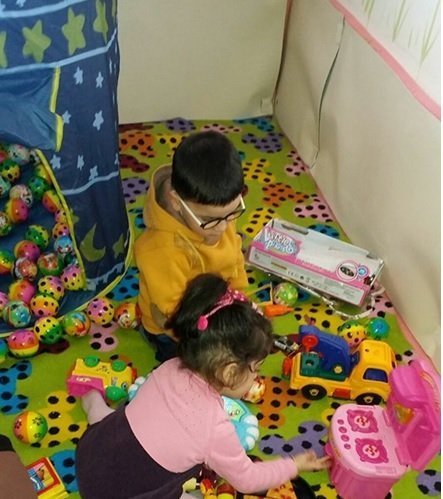 Play therapy in session. Photo courtesy of Nadia Rashid.