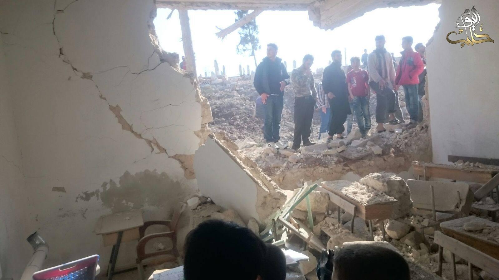 Photo: Halab TV Today, Bombed School in Ourem al-Kubra