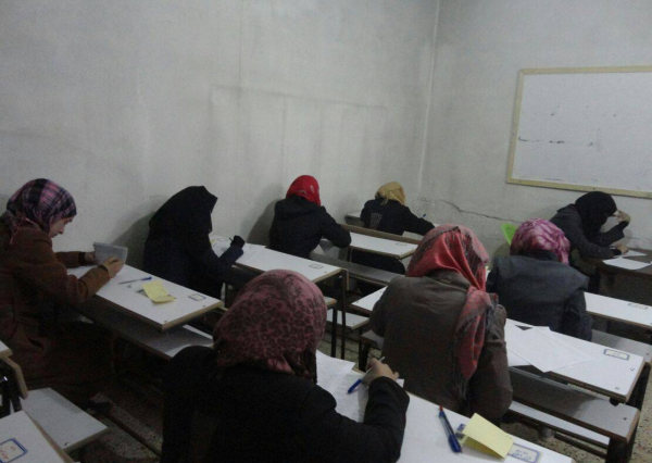 First Term Exams. Photo: (Free) University of Aleppo.