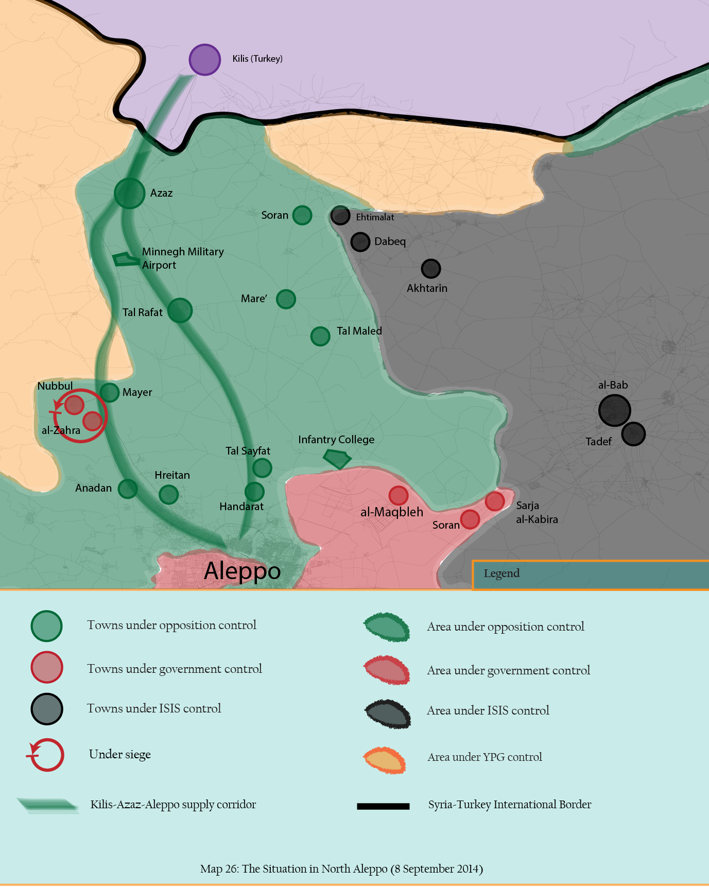 MAP 26 ISIS control north aleppo 8 Sept 2014