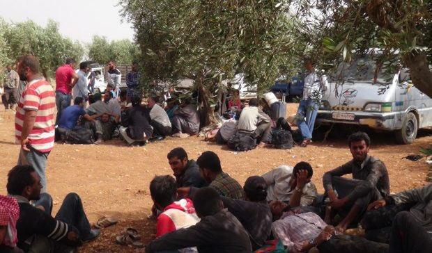 Civilians fleeing al-Bab area. Photo: ANHA.