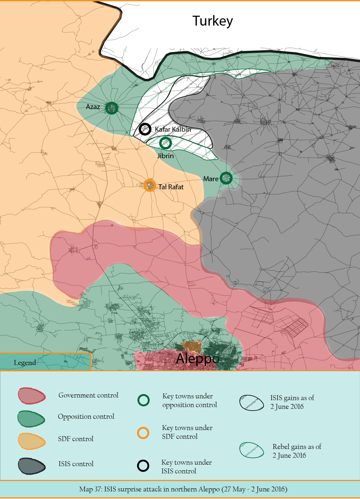 MAP 37 - ISIS surprise attack in northern Aleppo.