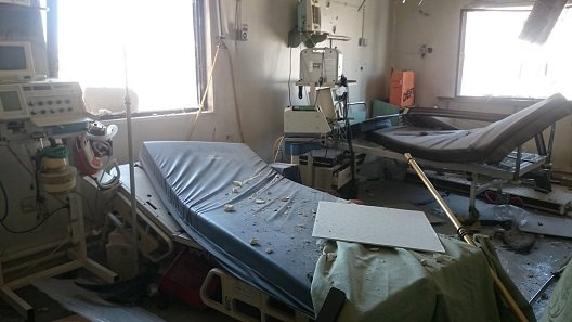 Recently damaged hospital. Photo: HOSAM AL-JABLAWI